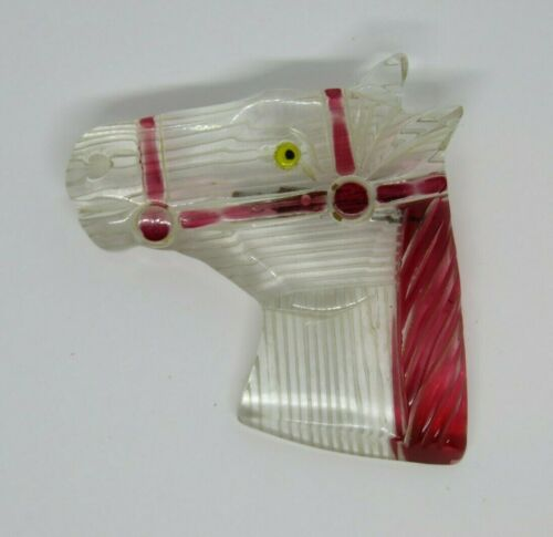 Vintage Lucite Horse Pin Brooch Clear & Red #2