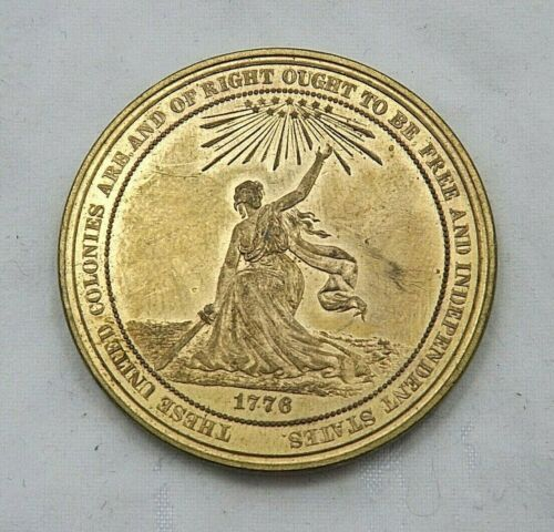 1876 100th Anniversary American Independence Gilt Bronze Medal SCD HK 22 (T1553)