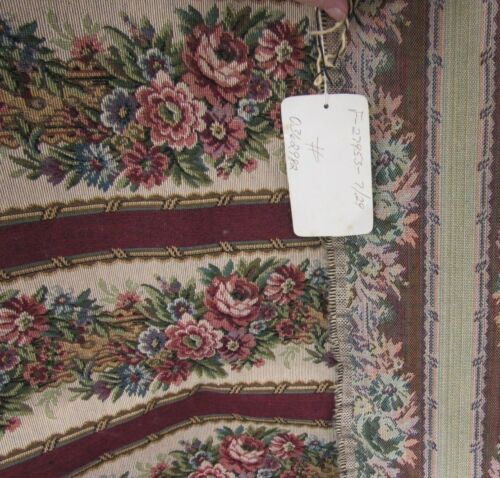 Dorchester Red Floral Stripe MidWeight Fabric Antique New Decor Pillow Bag 54x37