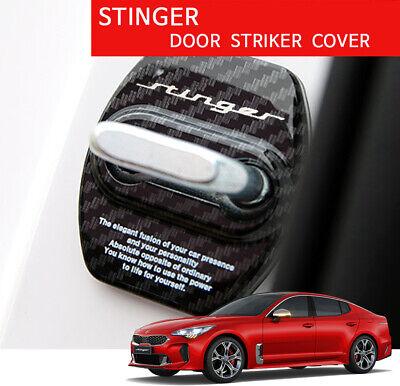 New UV Carbon Stinger Door Striker Cover 4pcs for Kia Stinger 17-18 Carbon Black
