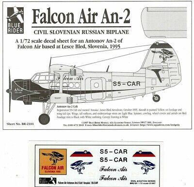 1/72 BLUE RIDER Decals Nr.2101; Falcon Air Antonov An-2 COLT Slovenia S5-CAR