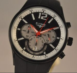 New Mens Elysee 33002 Competition Racing Chronograph Rubber Strap Watch
