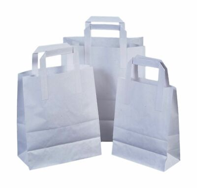 250 SMALL WHITE KRAFT PAPER CARRIER SOS TAKEAWAY BAGS WITH FLAT HANDLE