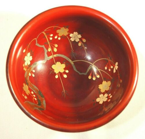 Maruni Occupied Japan hand painted lacquerware red bowl rice gold