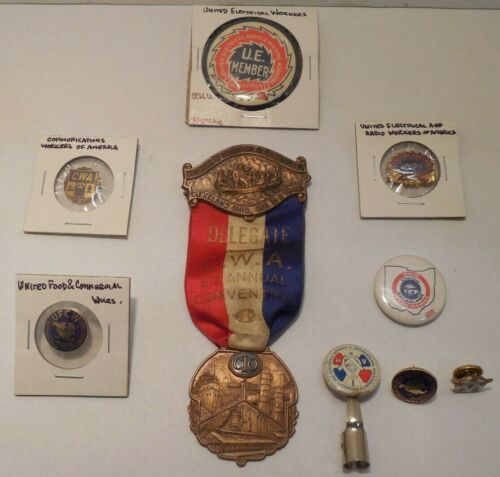 9 Vintage Union Pins-Electrical+Communications+Food/Comm