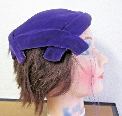 FLAPPER HAT unique cap vtg purple felt OG classy 1920s fashion Vaudeville jazz