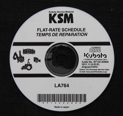 Genuine Kubota La764 La 764 Front Loader Flat Rate Schedule Manual On Cd