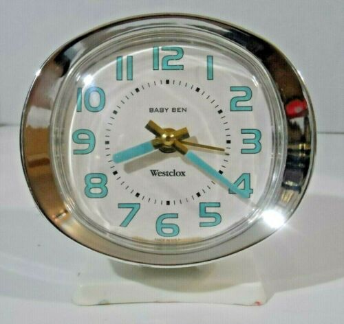 Vintage Westclox Baby Ben Alarm Clock (White / Blue / Chrome) EXCELLENT