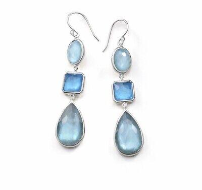 Ippolita Wonderland Blue Star 3 stone silver drop earrings New $695 NWOT