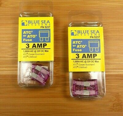 2 Packs of Blue Sea Systems 3 amp ATC / ATO Marine Grade Fuses Atc Blue Marine Fuse
