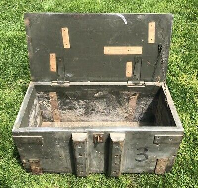 Vtg 1930s 40s Us Military Wood Iron Ammo Crate C