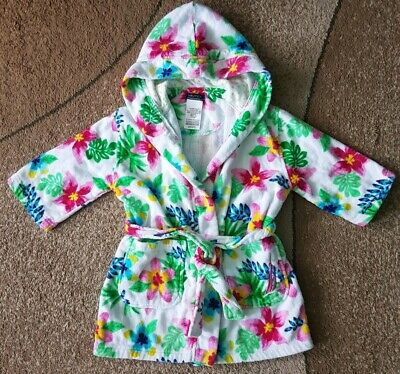 Nautica Girls Kids Hooded Beach Cover Up Towel Robe Cotton Flowers Size 3/4 XS