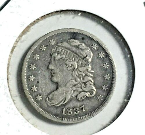 1837 Capped Bust Half Dime, Large 5 C VF+