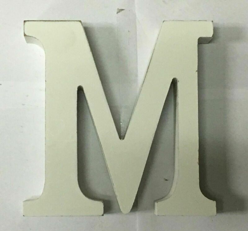 """ALL WHITE WOODEN LETTER """"M"""" , FREE SHIPPING"""