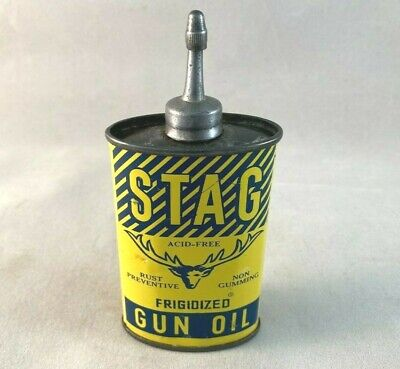 Vintage STAG GUN OIL LEAD TOP HANDY OILER Rare Old Advertising Tin Can