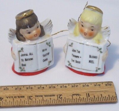 Vintage Antique Ardalt Japan Christmas Singing Angel Bell Figurines (Set of 2)