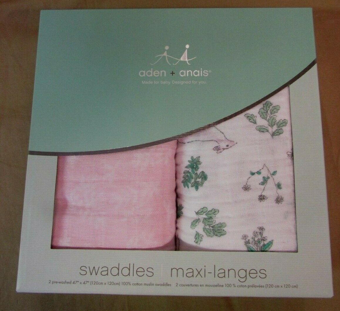 """New aden + anais Classic Swaddle Baby Blanket 47""""x47"""" 4046 F"""