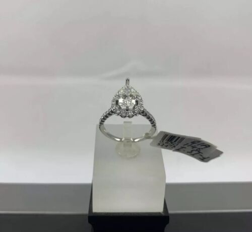 GIA Certified 18k White Gold Ladies Engagement Ring 1.36 Ct Brilliant Pear Shape 3