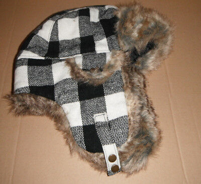 WOOLRICH BOMBER AVIATOR TRAPPER HAT white black PLAID XL NEW](White Aviator Hat)