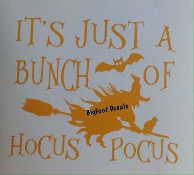 Hocus Halloween Pocus Witchy Bat Broomsticks Autumn Fun Sticker Vinyl Car Decal (Halloween Cartoons Political)