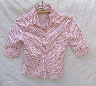(Jousse Paris Shirt Women 38 Stripe Pink Floral Top Pillow Ticking )