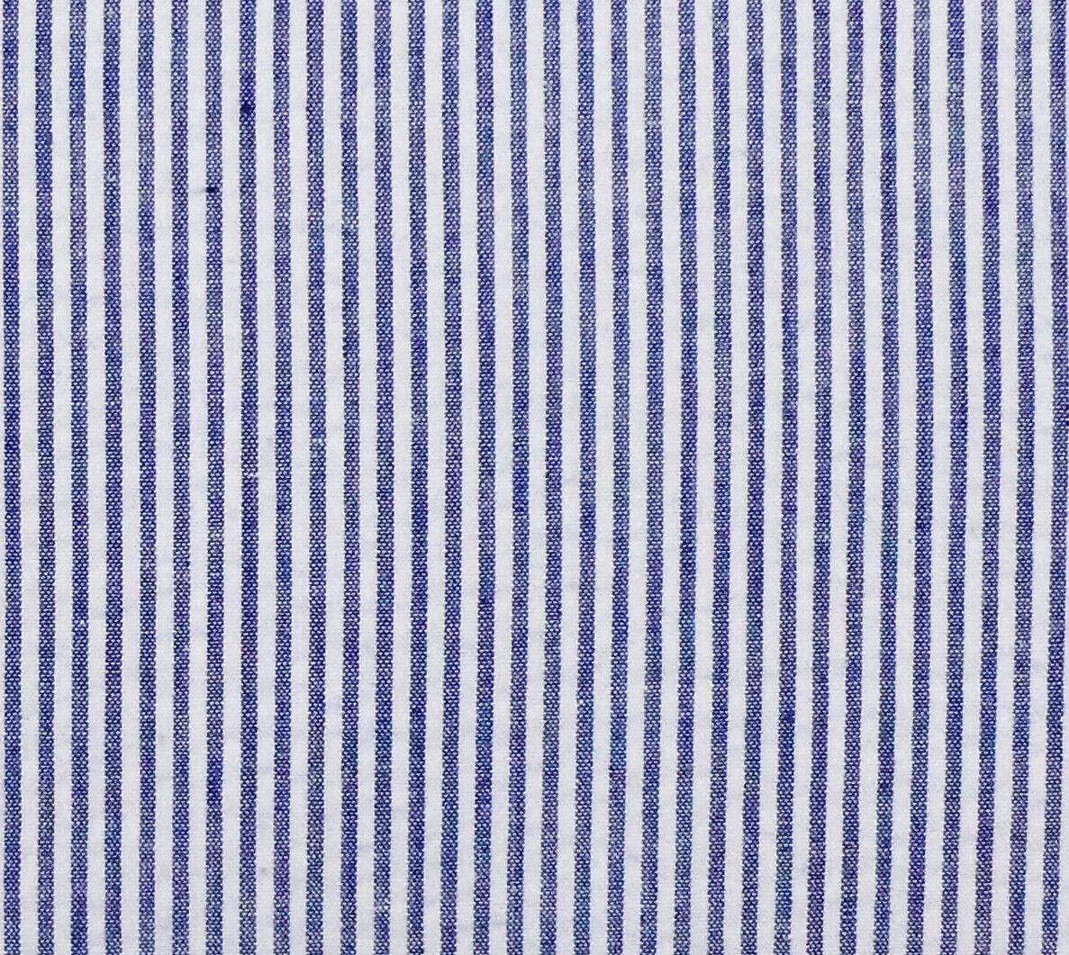 Robert Kaufman Classic Seersucker Royal Blue White Stripe 57