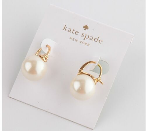 $24.99 - NEW AUTHENTIC KATE SPADE FAUX PEARL DROP EARRINGS GOLD TONE IVORY -$58- NEW!