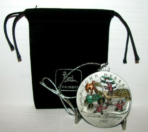 John Deere L Tractor 1997 Hand Painted Pewter Christmas Ornament 2nd In Series