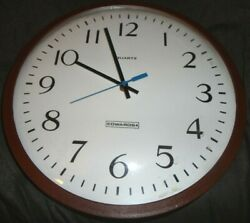Vintage school 13 wall clock glass front battery operated quartz Edwards