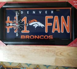 Dencer Broncos Number 1 Fan License Plate Mantel or Wall Clock And Picture