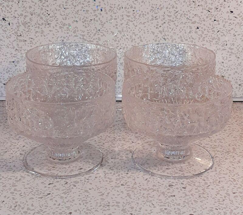 "4 x WHITEFRIARS GLACIER Pattern Dessert Bowls/Glasses 3"" High x 4"" Dia. Ex Cond"
