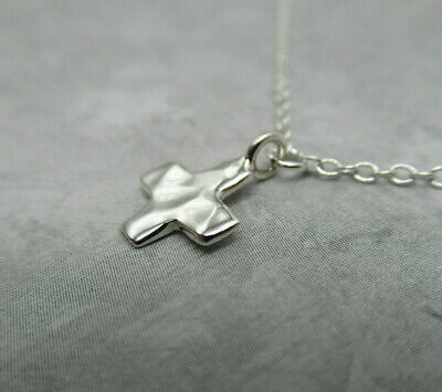 Small Hammered Cross Pendant 925 Sterling Silver Religion Christian Easter Gift