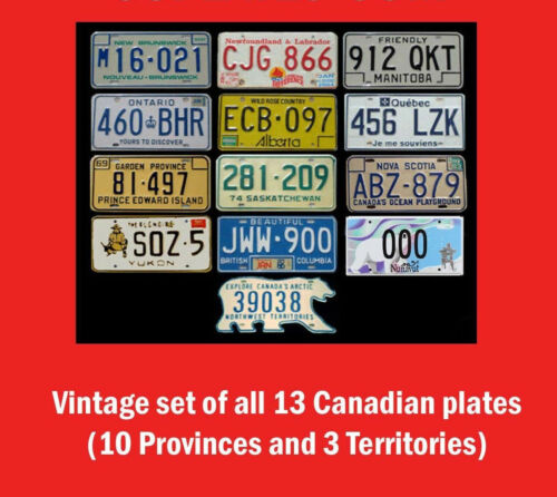 FULL SET 13 VINTAGE CANADIAN LICENSE PLATES LOT TAG NUNAVUT AND NWT BEAR CANADA