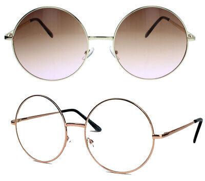 Große runde Damen Sonnenbrille Modebrille Klarglas 60er 70er Jahre Vintage LXL