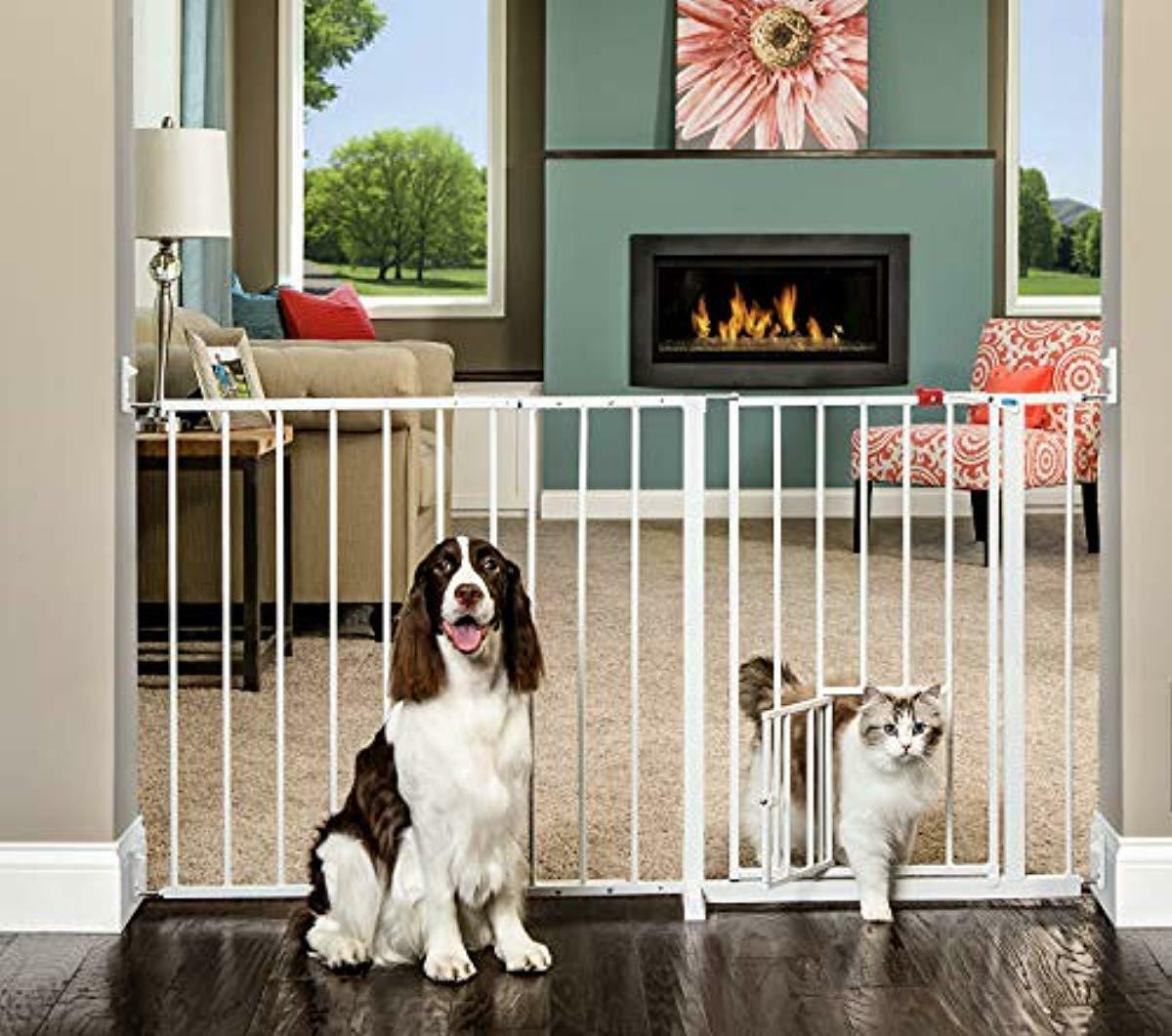 Details About Walk Through Pet Gate Baby Kids Safety Door Stair Dog Fence  Indoor Barrier 50 59