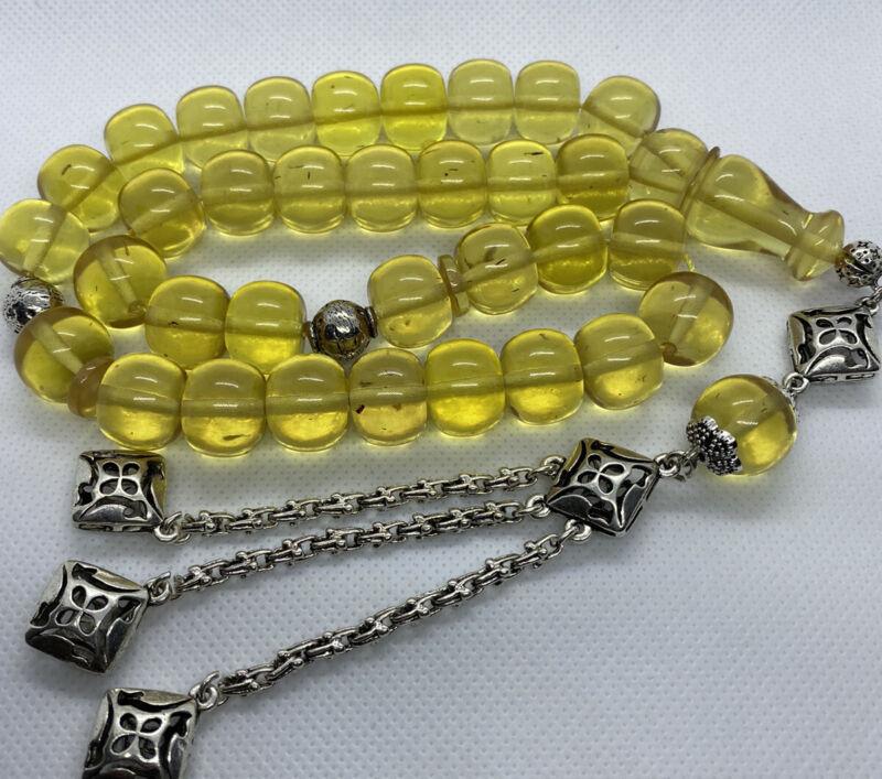 New Collectible Turkish Sandalos Amber Rosary 33 Beads سبحه سندلوس مسبحة مسباح