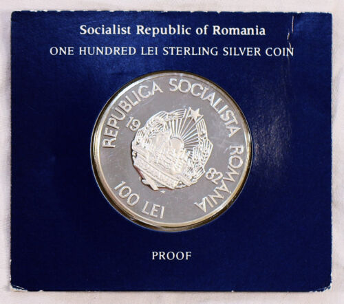 1982 100 LEI Romania Sterling Silver PROOF Coin Franklin Mint LOW MINTAGE!