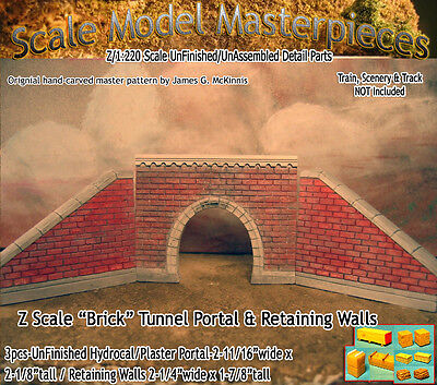 "Scale Model Masterpieces ""Brick"" Tunnel Portal & Retaining Walls Set Z -SMM11"