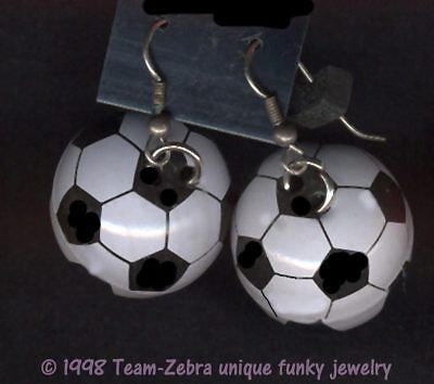 Huge Funky SOCCER BALL EARRINGS Team Mom Sports Player Referee Costume Jewelry - Soccer Ball Costume