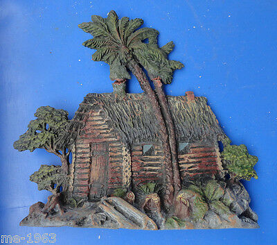 original Elastolin Blockhaus mit Palmen Masse  wohl Vorkrieg