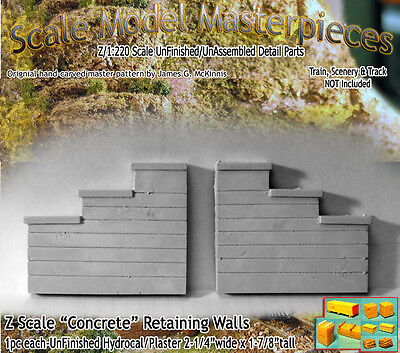 "Scale Model Masterpieces ""Formed Concrete"" Retaining Wall Set Z Scale -SMM11"
