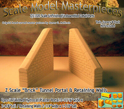 "Scale Model Masterpieces ""Brick"" Retaining Wall Set (2pcs) Z Scale -SMM11"