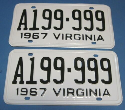 Matched Pair 1967 Virginia License Plates Professionally restored neat number
