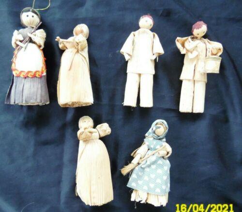 Corn Husk Dolls,6,3 Female,2 Male, 1 print Dress,1 Print Apron,Male w.Drum 4.5/5