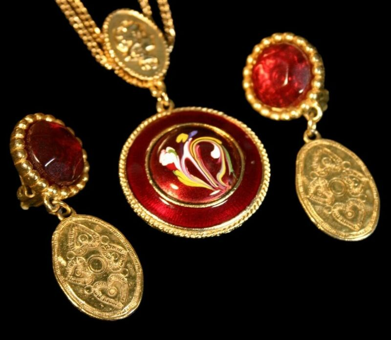 Vintage Red Florenza Jewelry Signed Necklace LCI Red Signed Drop Earrings