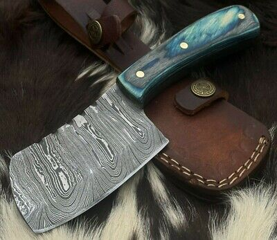 Handmade Damascus Steel Axe-Hatchet-EDC-Leather Sheath-Functional