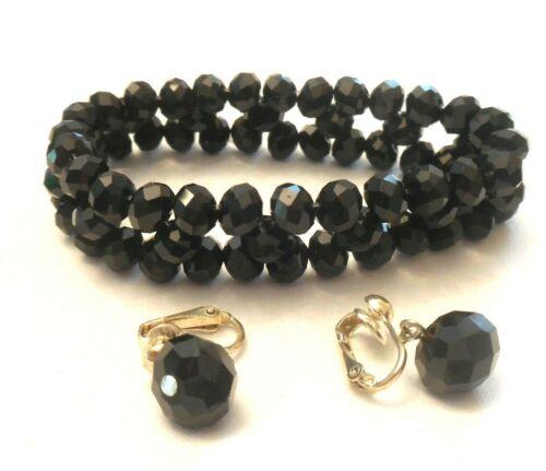 Vtg Black Crystal Bead Bracelet & Black Crystal Clip Errings