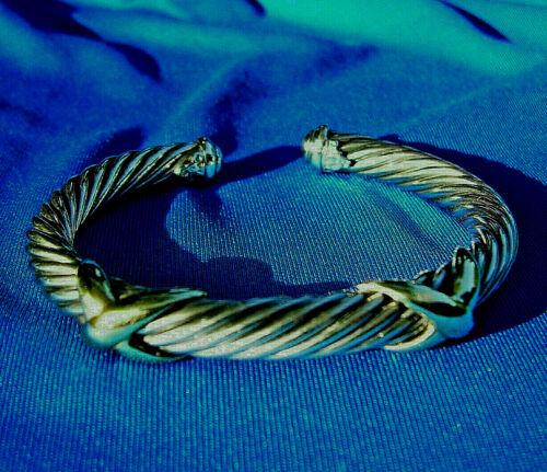 Real David Yurman X Cable Bangle Sterling Silver 14k Yellow Gold Cuff Bracelet