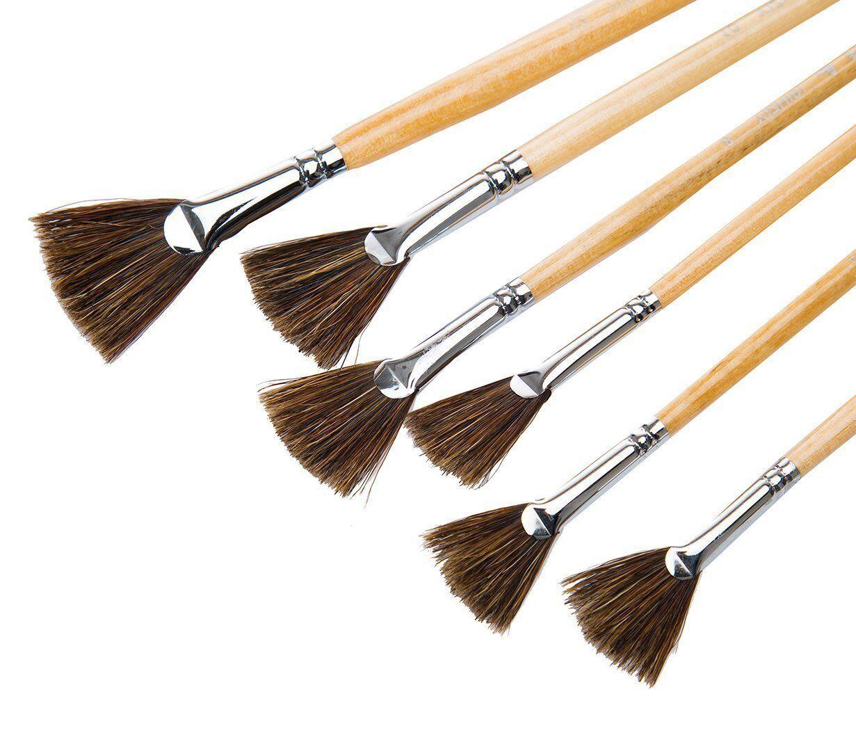 6 Pieces MEEDEN Artist Fan Paint Brush Set Long Handle for Oil Acrylic Painting Handmade Hog Bristle