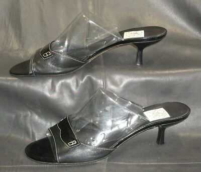 Joan & David black leather & patent leather mules sandals Women's shoes 8 1/2 M